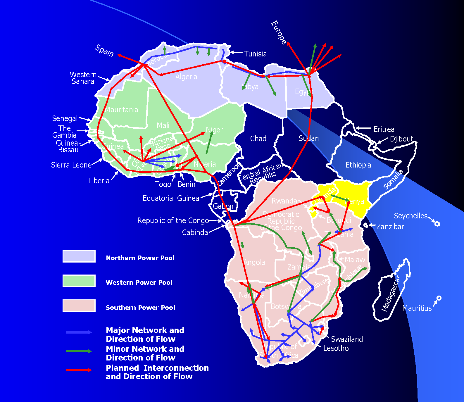 Existing and Planned Power Pool Connections in Africa