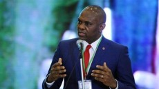 Tony Elumelu, chairman of the Transnational Corporation of Nigeria, speaks during the Presidential Power Reform Transactions signing ceremony in Abuja April 22, 2013. REUTERS/Afolabi Sotunde