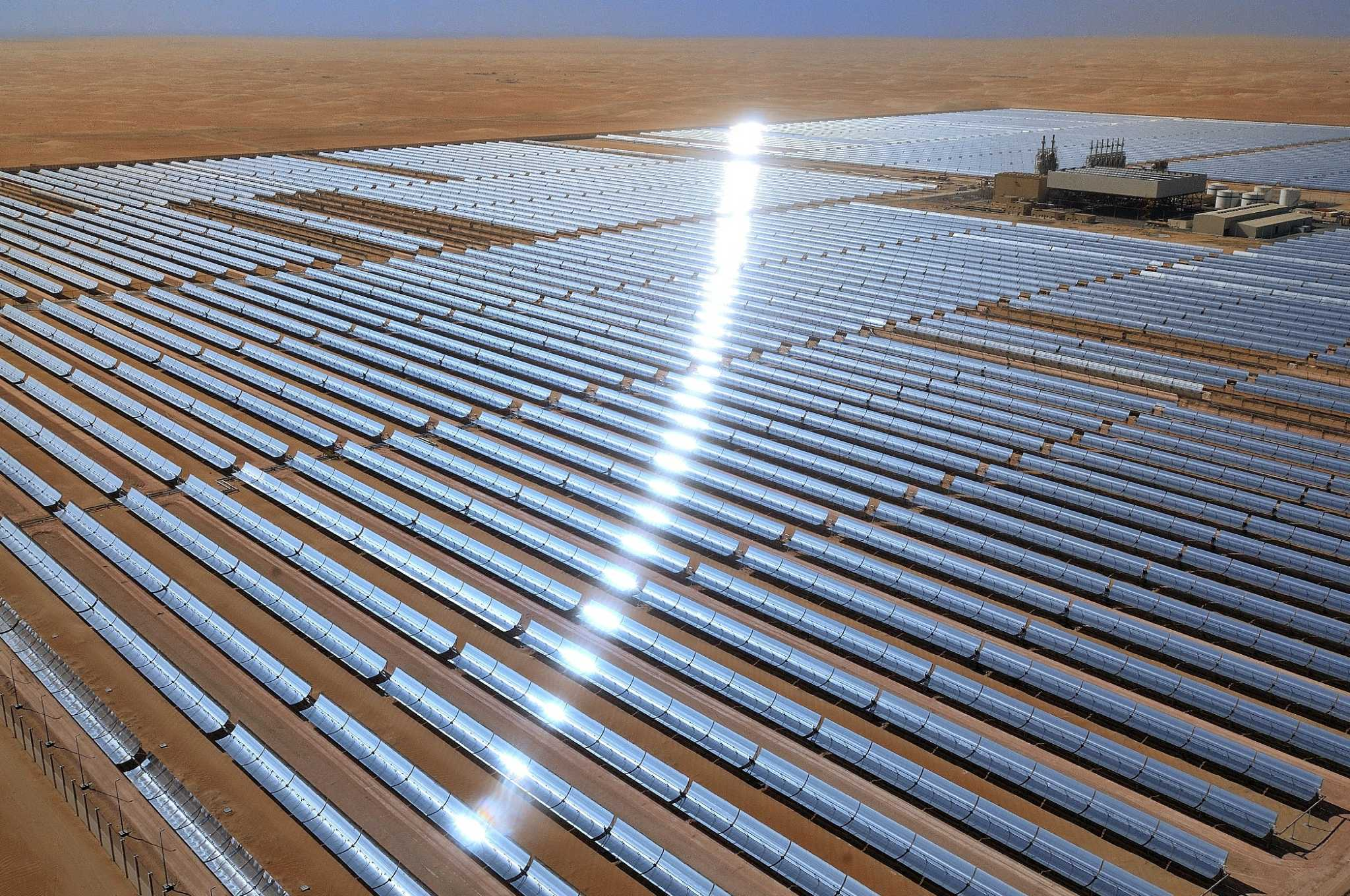 The 100-megawatt Shams 1 concentrated solar power plant in the Western Region of Abu Dhabi extends over about one square mile. Shams 1 is the world s largest concentrated solar power plant in operation.